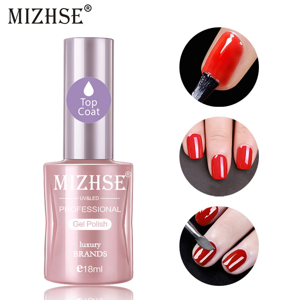 MIZHSE 18ml Top Coat Base Coat UV LED Gel Nails Polish No Wipe Top Coat And Base Coat For Gel Nails Semi-permanent Non-cleaning
