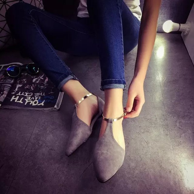 Women Moccasins Flat Shoes Black/Gray/Pink Pointed Toe Ballet Flats Metal Decoration Ballerina Sandals Summer Shoe For Ladies 2017 spring summer new women casual pointed toe loafers flats ballet ballerina flat shoes plus size 34 43