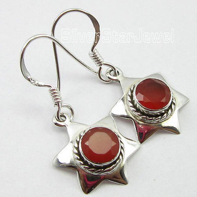 . Jóias de prata, FACETADO CARNELIAN Red Gem Brincos 3.0 CM ARTESANAL