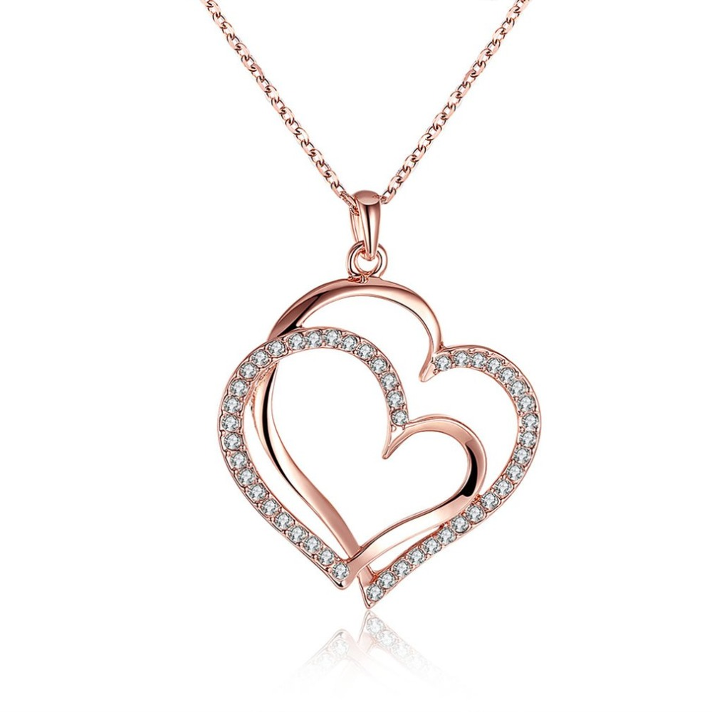 Romantic and Nobleness Gold Double Heart Shape Crystal Pendant Chain Charm Necklace For Women Bride Wedding Jewelry