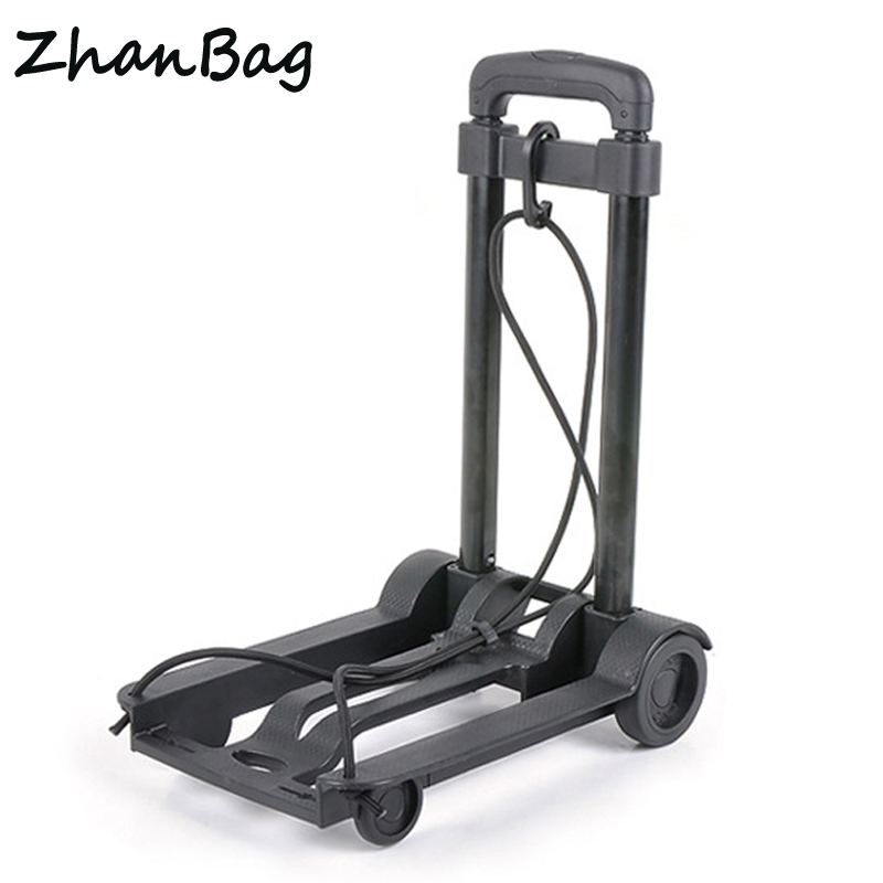 Mini Portable Trolley Carts Folding Rubber Wheel ABS Engineer Plastic Metal Small Shipping Luggage Cart Travel Accessories 341 car trunk storage box folding suitcase with wheel portable new top quality travel trolley carts 3 colors daily usage