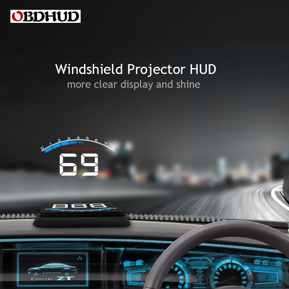 OBDHUD Big Digital Number Easier Read Car OBD2 HUD Head-Up Display M6 Driving Speed Windshield Projector Better Than A100S