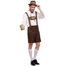 Halloween Costumes Oktoberfest Beer Maid Waiter Costume Man Women Bavarian Guy Lederhosen Fantasia Adulto Clothing
