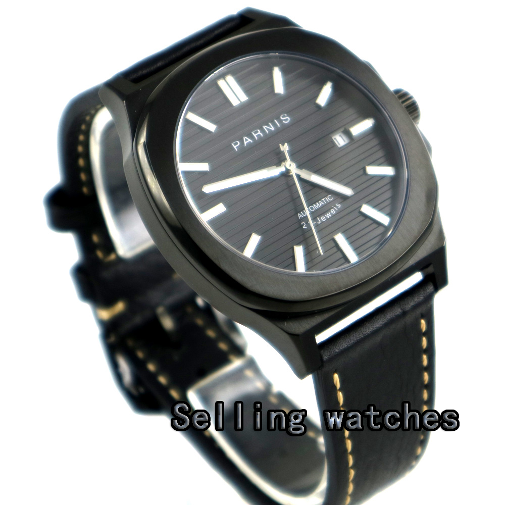 44MM parnis black dial date luminous PVD case miyota 821A automatic movement mens watch цена и фото