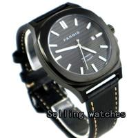 44mm parnis caso PVD mostrador preto data luminous 821A miyota movimento automático mens watch Relógios mecânicos     -