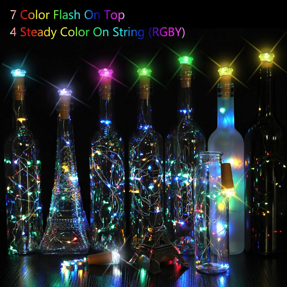 15LED 2019New Wine Bottle Lights Cork Battery Powered Garland DIY Christmas String Lights For Party Halloween Wedding Decoration