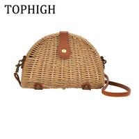 2017 New Fashion Woman Straw Bags Semi Circle Shoulder Bag Feminina Rattan Handbag Lady Casual Crochet
