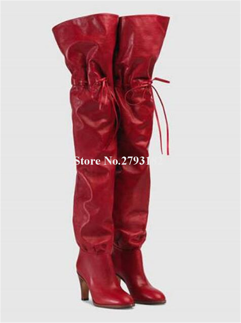 Newest Brand Women Round Toe Red Black Leather Loose Style Over Knee Chunky Heel Boots Charming Thick Heel Thigh High Heel Boots цена 2017
