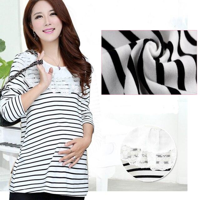 Свободный Размер Мода Для Беременных Одежда Для Беременных футболка Кормящих Топы Беременность Полоса Одежда для Беременных GH010