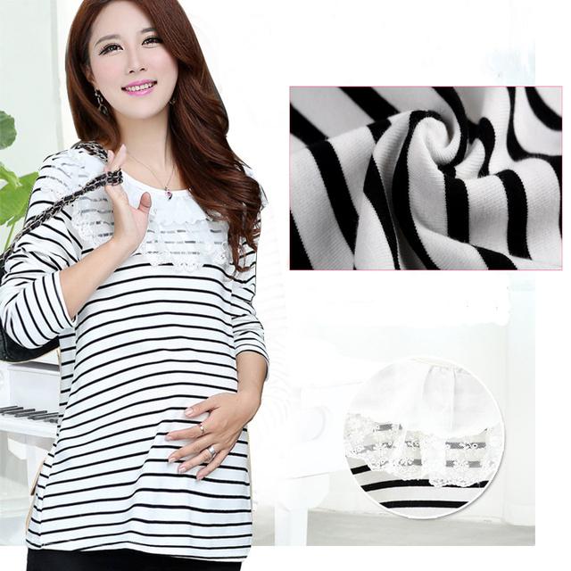 Tamaño libre de La Moda de Maternidad Ropa de Maternidad de la camiseta De Enfermería Tops Raya Ropa para Mujeres Embarazadas Embarazo GH010