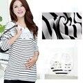 Tamanho livre Moda Maternidade Roupas t Camisa de Maternidade de Enfermagem Tops Stripe Gravidez Roupas para Mulheres Grávidas GH010