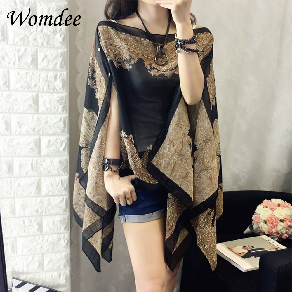 Multi-function Womens Beach Floral Chiffon   Blouses   Summer Beachwear Cover Up Loose   Blouse     Shirt   Sunscreen Long Beach Towel Scarf