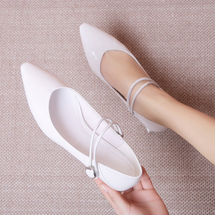 MLJUESE 2019 women flats Soft Patent leather Mary Janes white color comfortable flats shoes spring autumn