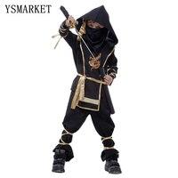 2017 Kids Ninja Costumes Halloween Party Boys Girls Warrior Stealth Children Cosplay Assassin Costume E0100