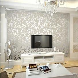 European Classic Style Non Woven Cream Gold Leaf Wallpaper Roll