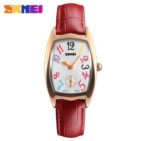 SKMEI Women Watches Top Brand Luxury Famous Quartz Watch Waterproof Leather Ladies Wrist Watches Clock Women Relogio Feminino Lahore