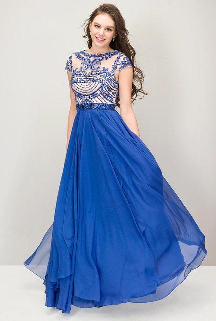 585df796 Royal azul baile vestidos largos 2016 Sparkle gasa con espalda abierta Sexy  de noche Formal vestidos