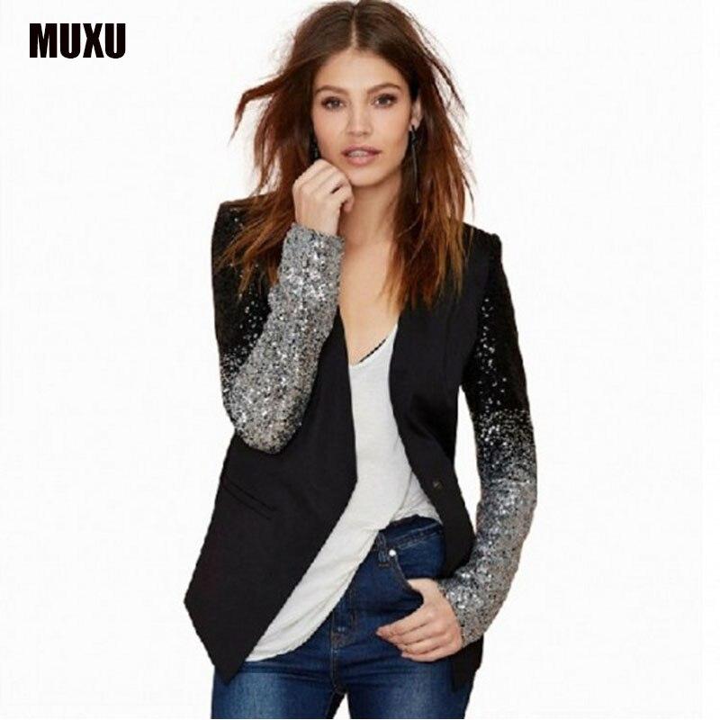 MUXU new Autumn Women coat Fashion jacket coat casaco long sleeve glitter black patchwork sequin chaquetas