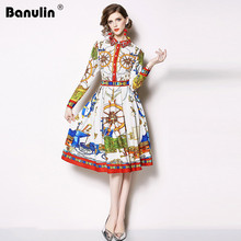 Banulin Runway Designer Womans Pleated Party Dress New 2018 Autumn Women Full Sleeve Floral Printed Vintage Woman