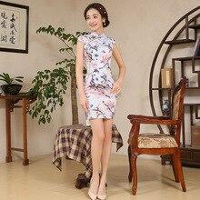 Women Elegance Chinese Traditional Dress Short Female Cheongsam Print Flower Summer Short Sleeve Party Qipao Evening Dress 18