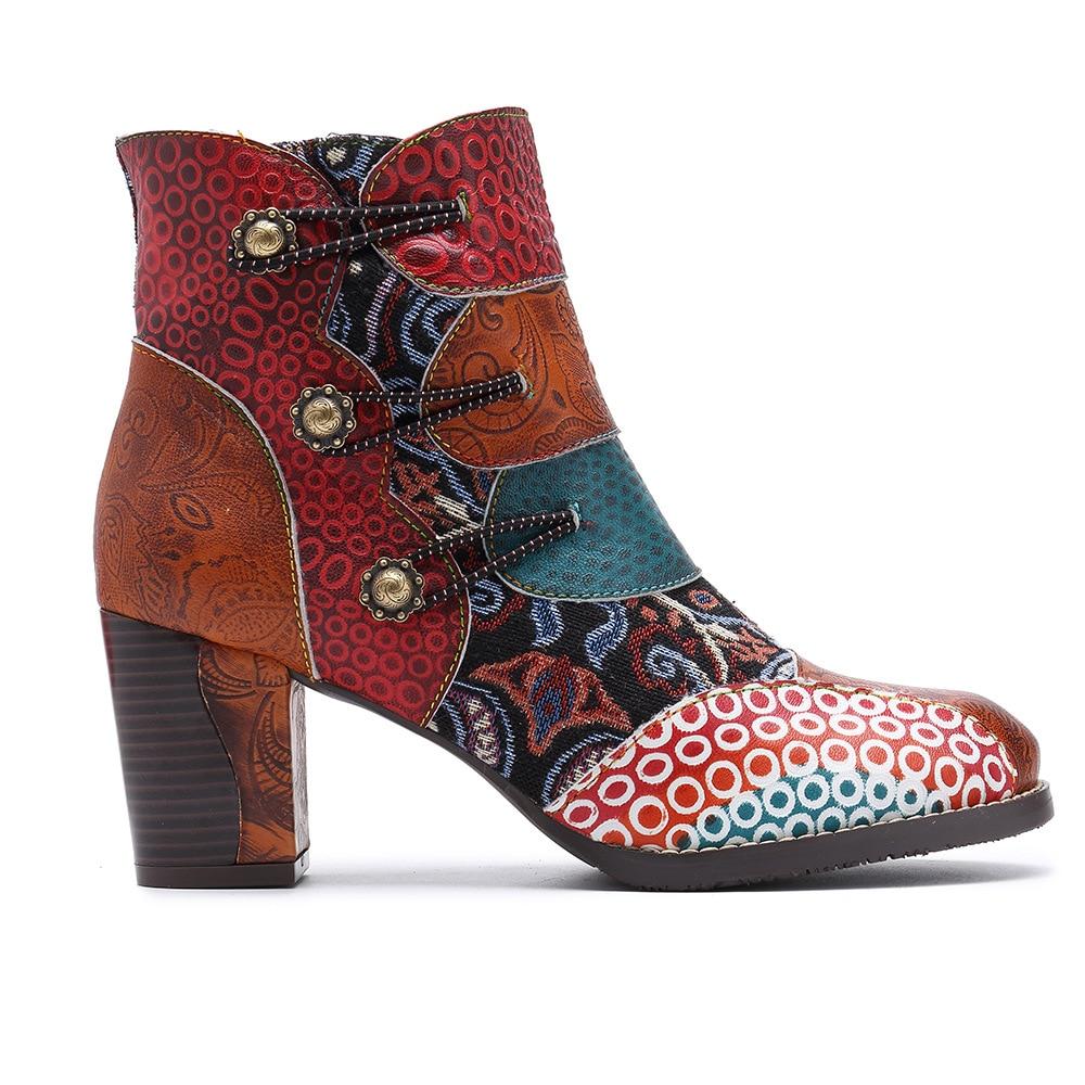 Ayakk.'ten Ayak Bileği Çizmeler'de Johnature Toka Askı 2019 Yeni Hakiki Deri yarım çizmeler Kadınlar için Bahar Sonbahar Bayan Ayakkabıları Kadın Çiçek Bohemia Patik'da  Grup 3