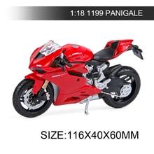 Maisto 1:18 오토바이 모델 Ducati 1199 PANIGALE 레드 다이 캐스트 모토 미니어처 레이스 장난감 선물 컬렉션