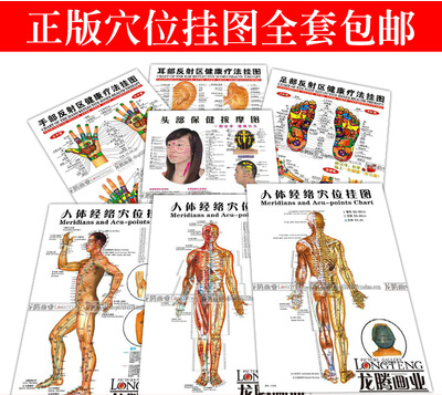 7pcs Acupuncture wall chart Meridians Acu points Chinese ...