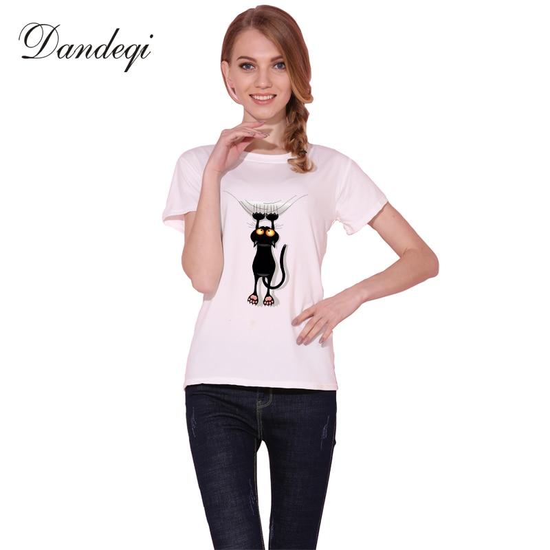 Dandeqi ซนแมวดำ 3D เสื้อยืดผู้หญิงน่ารักเสื้อคุณภาพดีสะดวกสบายเสื้อแบรนด์นุ่มท็อปส์