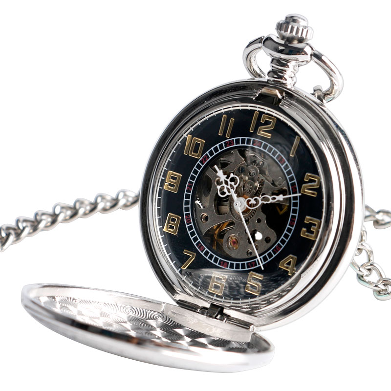 Vintage Silver Shield Design Auto Self Winding Mechanical Pocket Watch Exquisite Chain Steampunk Pendant Unisex Clock Gifts