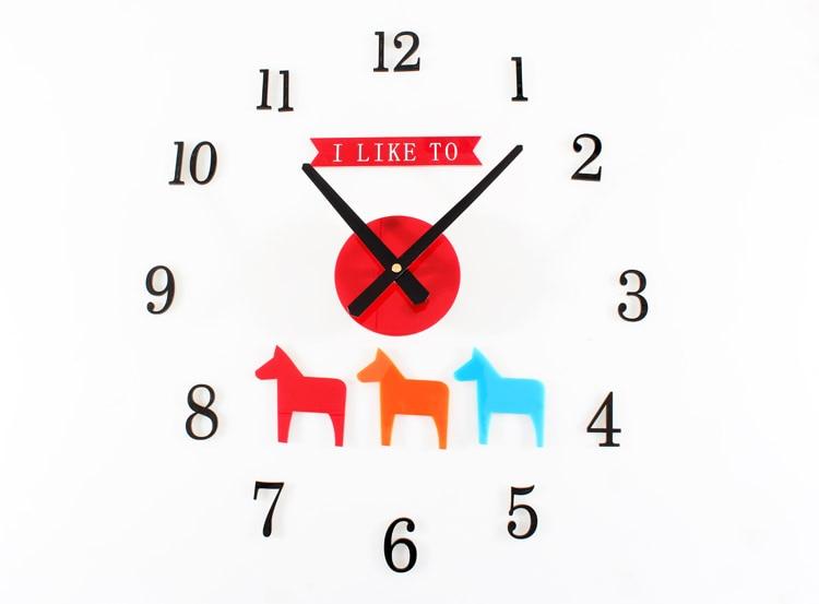 3d Diy Clock Cartoon Horse Child Bedroom Den Decorated