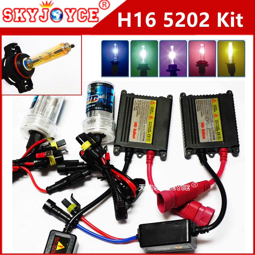 AC 12V EU H16 hid kit 35W hid 30000K Deep Blue H16 3000K 4300K 5000K 6000K 8000K H16 5202 xenon hid kit car styling accessory 12v 35w h1m metal base hid xenon bulb 3000k 4300k 6000k 8000k 10000k 15000k 30000k ac car headlight single beam auto lamp