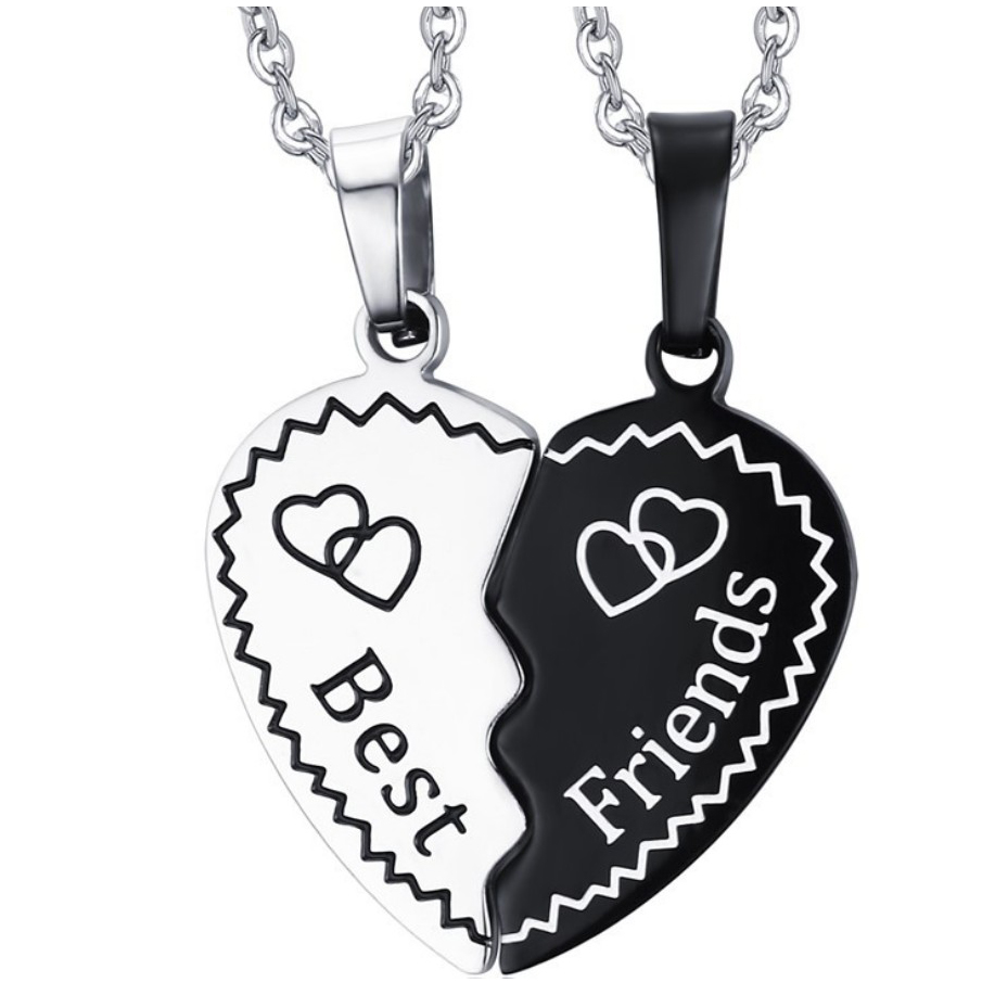 One pair of Fashion Stainless Steel Love Heart Pendant Friendship Necklaces Best Friend Gifts women men image