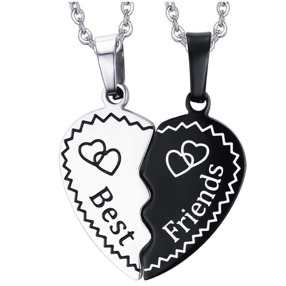 b2d6d21c6 Un par de moda de acero inoxidable amor corazón colgante amistad Collares  mejor amigo regalos mujeres hombres