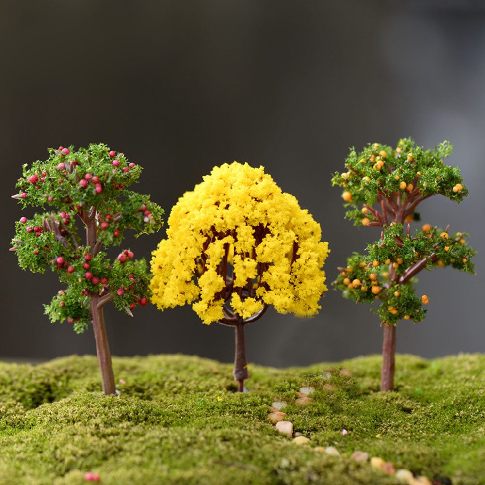 1//12 Scale Dollhouse Miniature Potted Clay Tree Plant Green Plant Garden-Accs HO