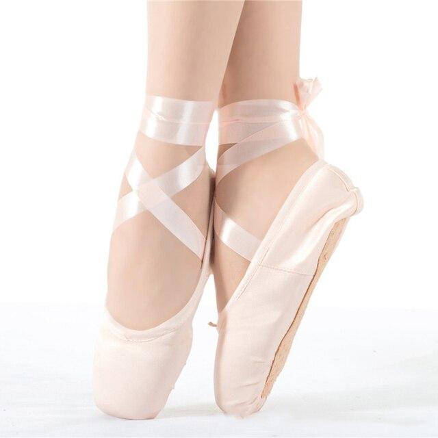 Zapatos de baile de mujer Zapatos de ballet de punta Zapatos de baile de ballet de satén QudMR