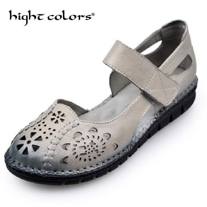 Handmade Genuine Leather Womens Ballet Flat Shoes Female Casual Loafers Woman Comfortable Car-Styling Shoe Mom Walking Shoe ...