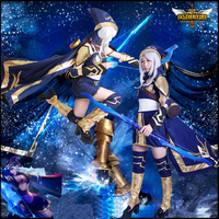 Free PP Game LoL Cosplay Costume lol ashe Cosplay Halloween Fancy Dress Costumes For Women Party ashe cosplay LoL Cosplay Dress