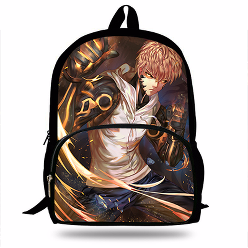 Hot 16Inch One Punch Man Backpack Set for Children Pop Cartoon Saitama Genos Sonic Printing School Bags Boys Girls Daily Bookbag|School Bags| |  - title=