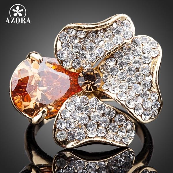 AZORA Unique Design Gold Plated Orange Stellux Austrian Crystal Flower Ring TR0113