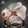 AZORA Unique Design Gold Plated Orange Stellux Austrian Crystal Flower Ring TR0113