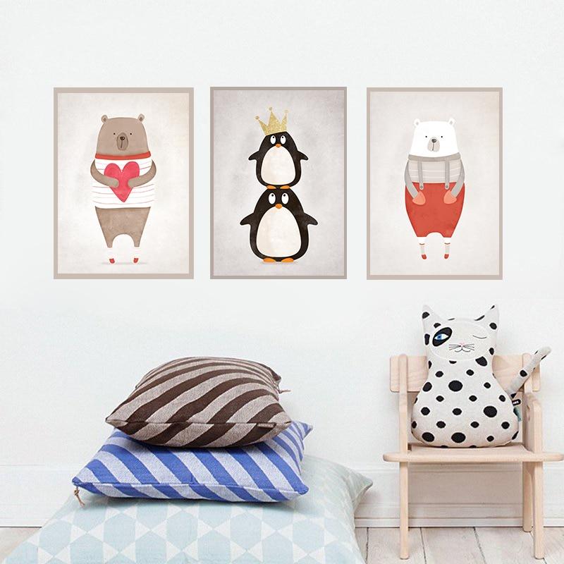 GY95Cute Bear Penguin Kids room Decor Wall Poster Love ...