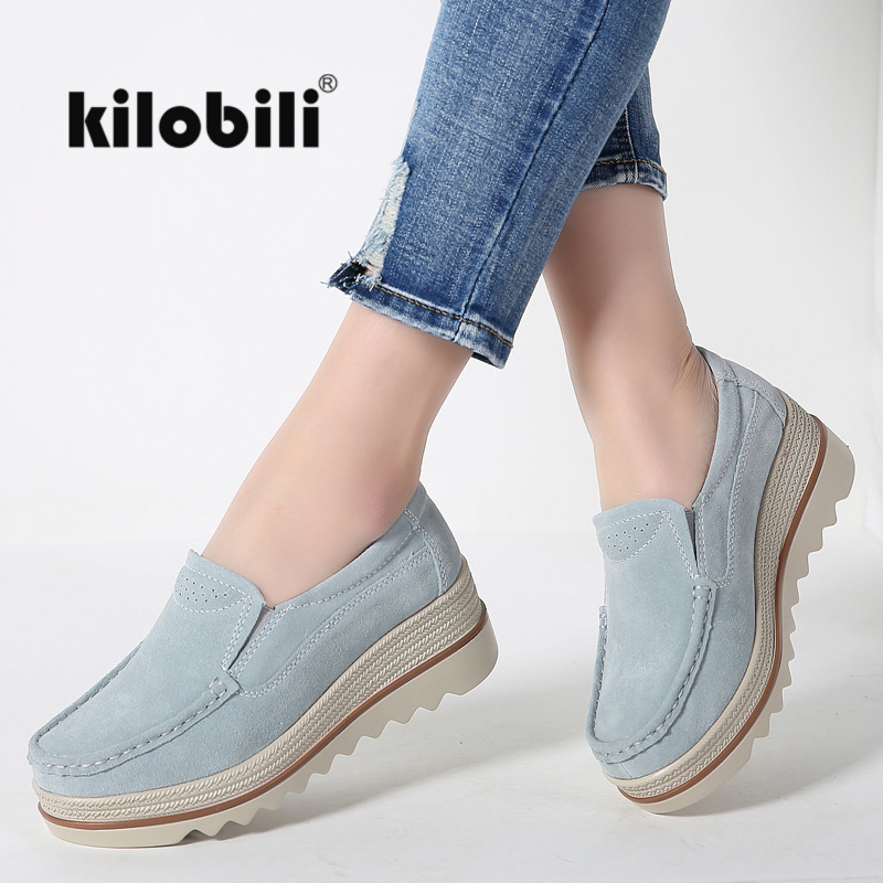 kilobili Women Flat Platform Loafers Shoes Boat Suede Leather Slip on Ladies Heels Moccains Wedge Creepers