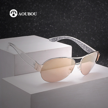 AOUBOU Fashion Women Sunglasses Semi-Rimless Shades Luxury Brand Designer Sun glasses Oval Lady Eyewear Gold Color UV400 AB707