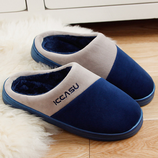 f65ab6d12 Indoor slippers mens shoes flock unisex winter shoes men mixed clolors  plush home slippers for men Black/Blue/Brown