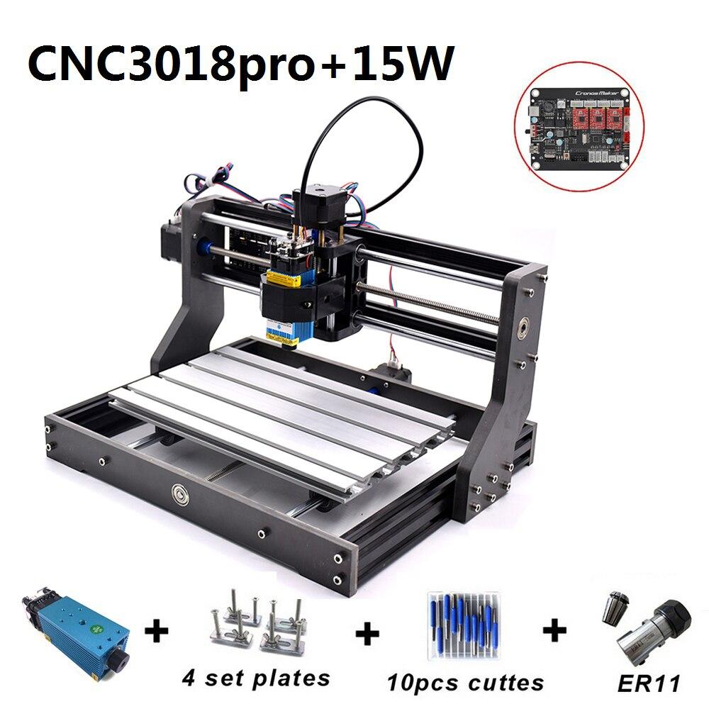CNC3018 Pro 15W Máquina de Gravura com 500mw 2500mw 5500mw Cabeça ER11 Madeira Router Fresadora PCB escultura Em madeira CNC 3018 PRO