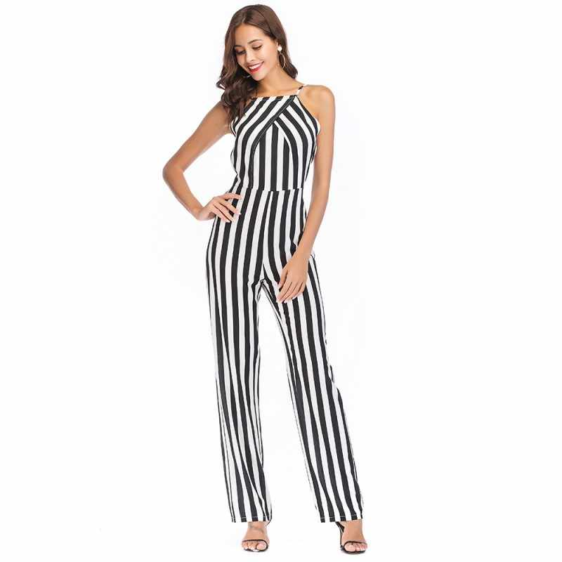 backless one piece jumpsuit women overalls summer 2018 long rompers womens jumpsuit off shoulder striped pants plus size A2310