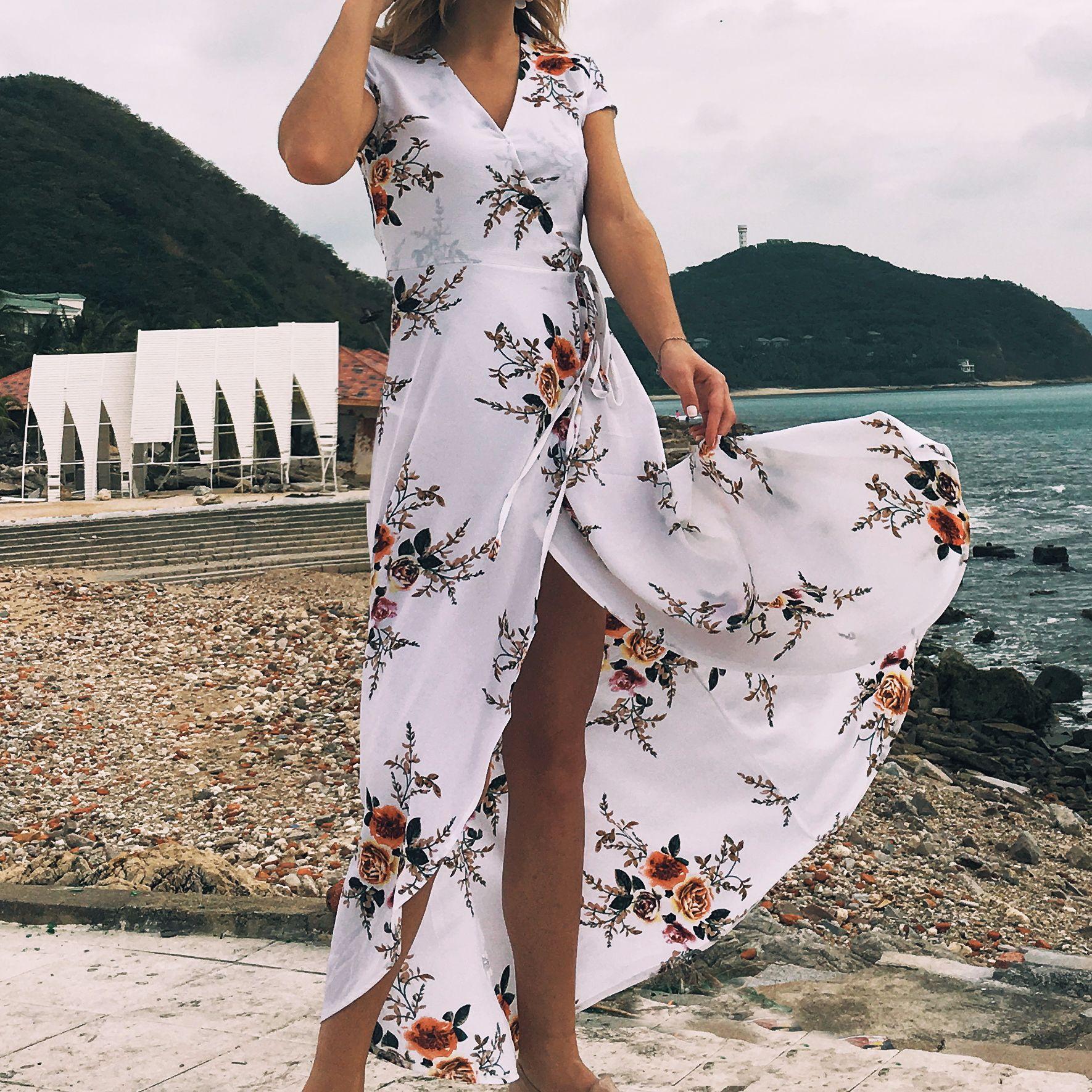 Women White Dresses Elegant New Bohemian Beach Print Summer Dress Chiffon Irregular Split Beach V-neck Boho Dress Vestido Longo