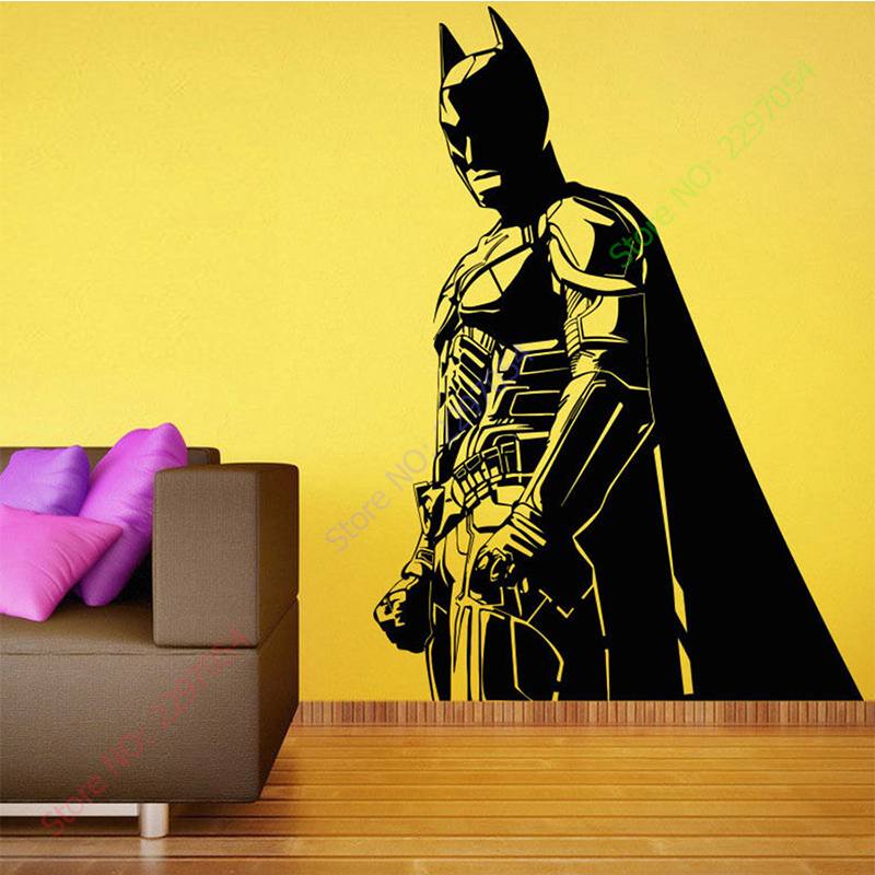 Batman vinyl wall decals dark dark knight sticker for Dark knight mural