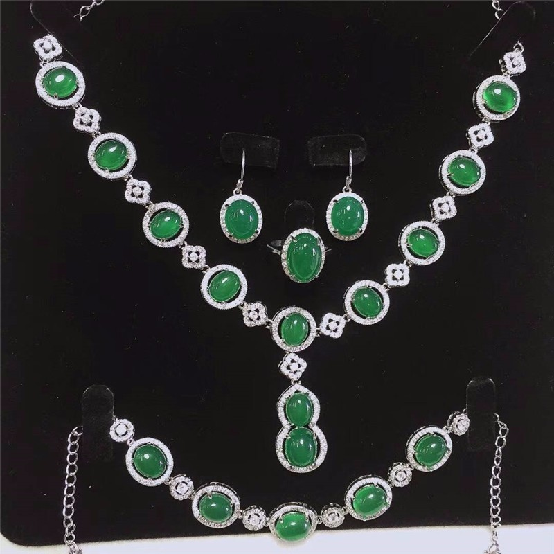 купить Koraba Fine Jewelry 925 Silver Inlaid Natural Green Chalcedony Pendant Necklace Ring Bracelet Earring Set Gifts Free Shipping по цене 13096.99 рублей