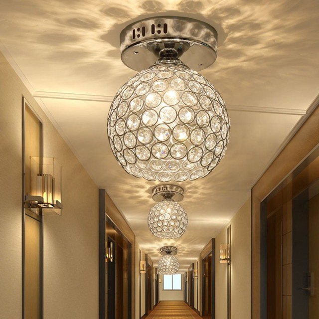 Balkon Beleuchtung silber k9 kristall deckenleuchte le korridor eingang licht
